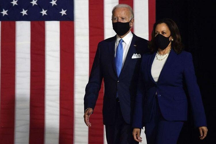 Calon Presiden dan Calon Wakil Presiden Partai Demokrat Joe Biden dan Kamala Harris tampil bersama di gym Sekolah Alexis I. DuPont di Wilmington, Delaware, Rabu siang (12/08/2020)