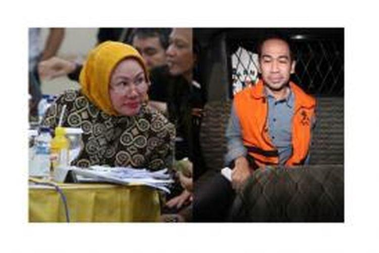 Gubernur Banten Ratu Atut Chosiyah (kiri) dan adik kandungnya Tubagus Chaeri Wardana alias Wawan (kanan)