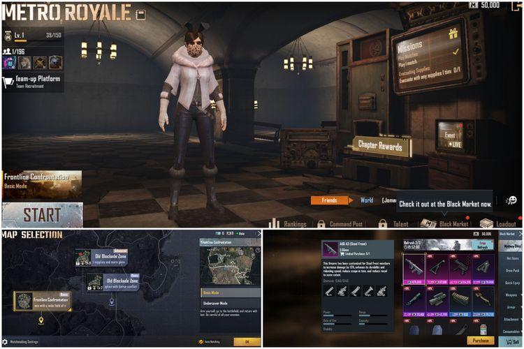 Tampilan lobby mode Metro Royale (atas), menu peta (kiri bawah), dan toko Black Market (kanan bawah).