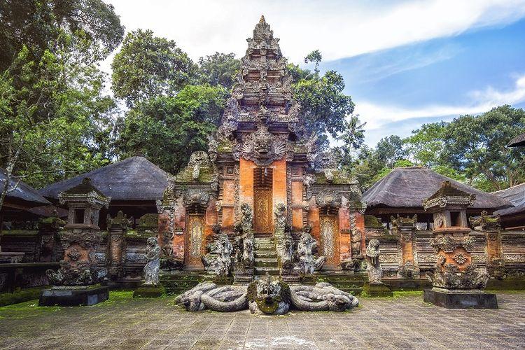 Ilustrasi Bali - Pura yang terletak di Monkey Forest.
