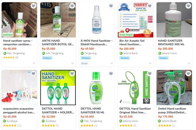 Harga hand sanitizer di toko online atau online shop melambung tinggi imbas kepanikan virus corona.