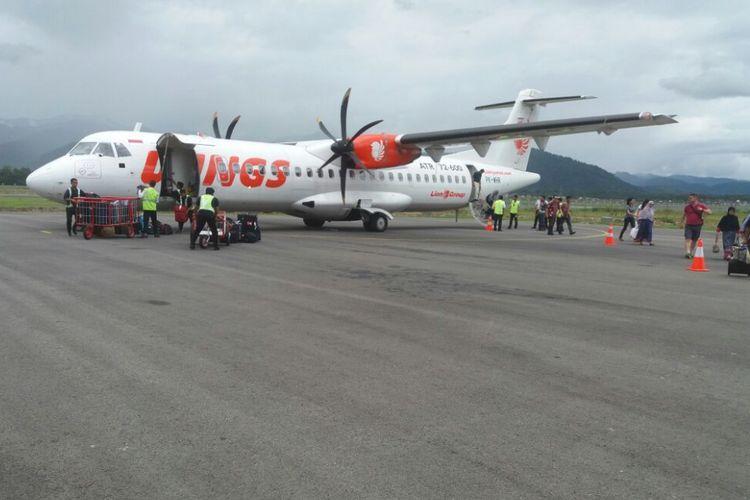 Pesawat Wings Air yang dipakai untuk penerbangan rute Jambi-Kerinci, Kamis (12/10/2017).