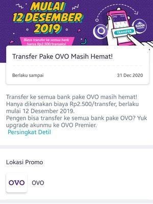 Pemberitahuan biaya transfer antar bank Rp 2.500 di aplikasi Ovo