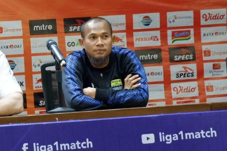 Kapten Persib Bandung, Supardi Nasir, saat menghadiri konferensi pers jelang laga Persija vs Persib di Stadion Utama Gelora Bung Karno, Senayan, Jakarta, Selasa (8/9/2019).