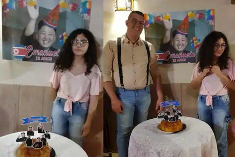 Sebuah unggahan dari akun Facebook bernama Vitor de Souza menunjukkan pesta ulang tahun si adik, Emanuel. Vitor memberikan poster Pemimpin Korea Utara Kim Jong Un kepada sang adik yang merupakan penggemar K-Pop.
