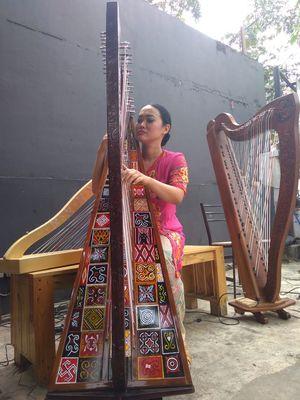Musisi asal Bandung, Sisca, tengah memainkan harpa toraja.