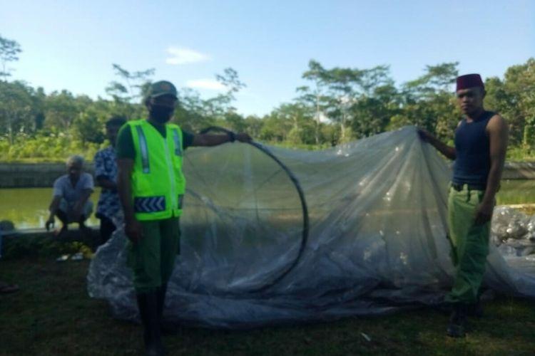 Balon Udara yang Mendarat di Desa Ngloro, Kecamatan Saptosari Minggu (24/5/2020)
