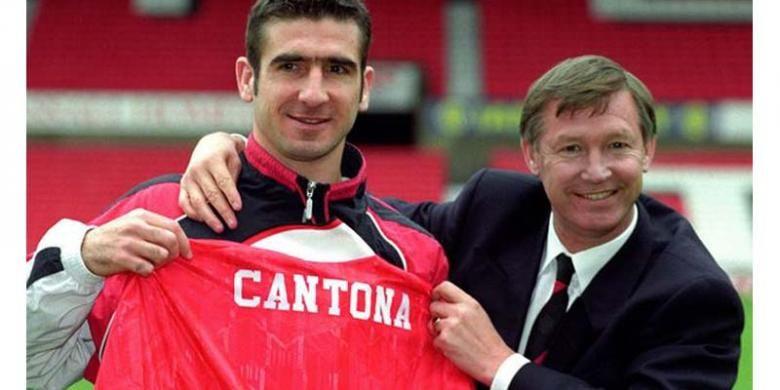 Bintang Manchester United, Eric Cantona (kiri) dan manajer Alex Ferguson.