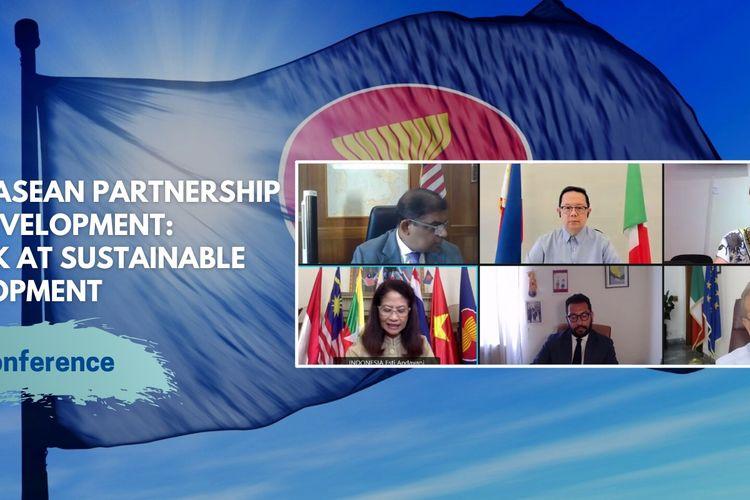Webinar Italy-ASEAN Partnership for Development: A look at Sustainable Development, yang diselenggarakan secara virtual (daring) pada Rabu (7/7/2021).