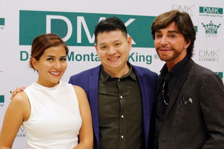 Dari kiri ke kanan: Aktris Meisya Siregar, Muchtar Tjia dan Danne Montague-King di DMK Clinic Jakarta.