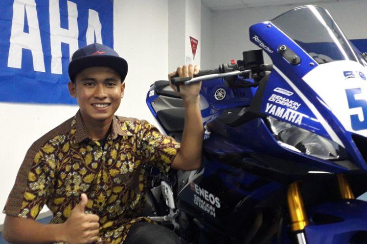 saat ditemui di sela acara peluncuran tim Yamaha Racing Indonesia, di Jakarta, Jumat (1/3/2019).