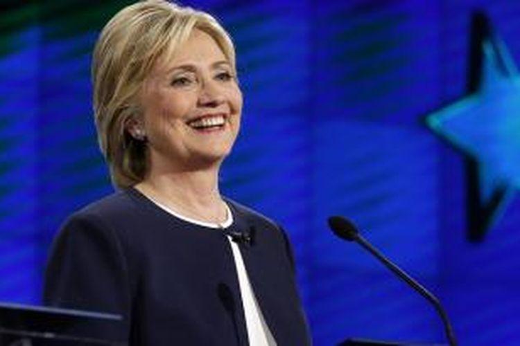 Hillary Clinton di debat capres Demokrat di Las Vegas, Nevada, Selasa (13/10)