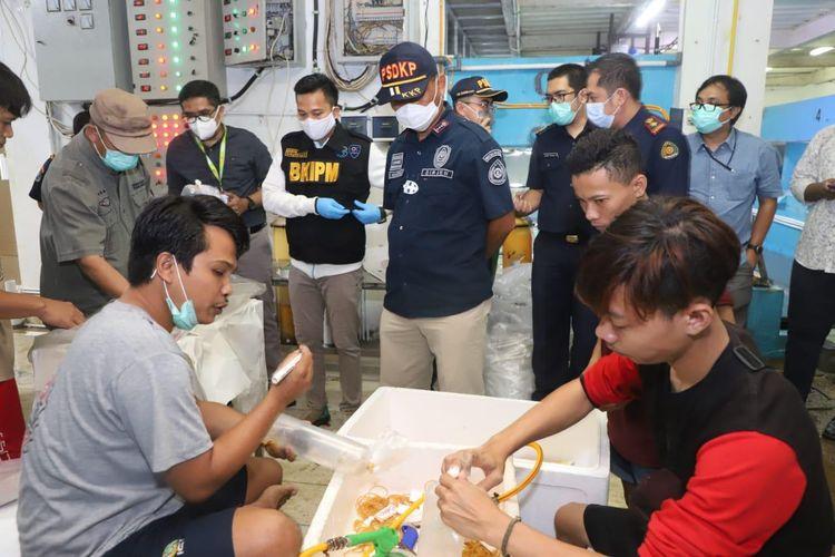 Kementerian Kelautan dan Perikanan (KKP) melakukan sidak di beberapa lokasi penampungan benih bening lobster (BBL) di wilayah Tangerang, Rabu (28/10/2020).