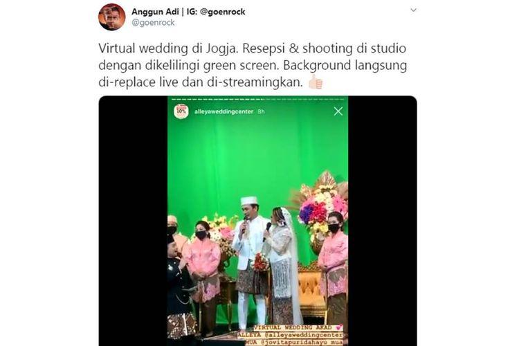 Tangkapan layar video viral virtual wedding dengan green screen.