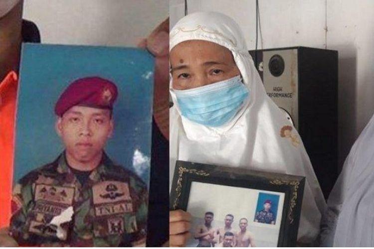 Para kakak kandung Sertu Bambang Prianto menunjukan foto adiknya berharap Kapal Selam KRI Nanggala-402 di rumahnya Kampung Ngadirejo RT 30 RW 42, Kelurahan Kroyo, Kecamatan Karangmalang, Kabupaten Sragen, Sabtu (24/4/2021).