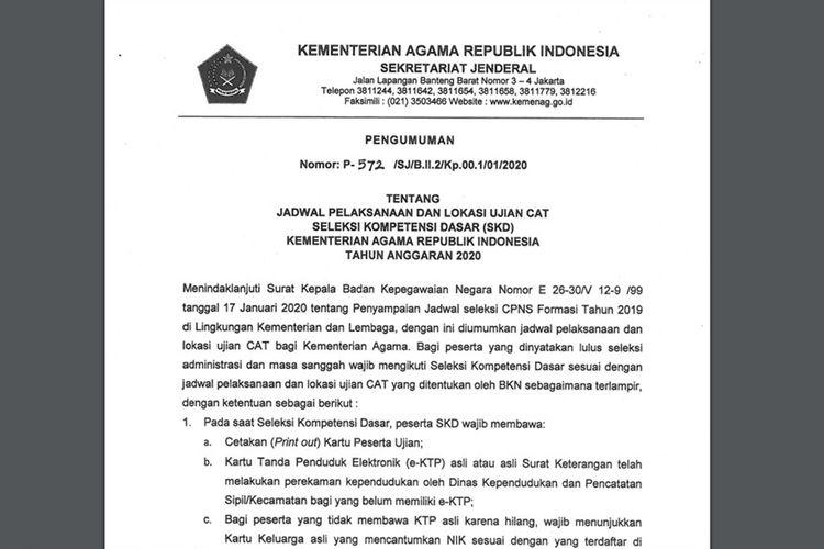Jadwal dan lokasi tes SKD Kemenag diumumkan 21 Januari 2020