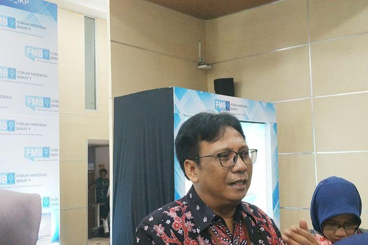 Deputi Bidang Statistik Sosial Badan Pusat Statistik (BPS) Margo Yuwono di Kantor Kemenkominfo, Jakarta Pusat, Kamis (13/2/2020).