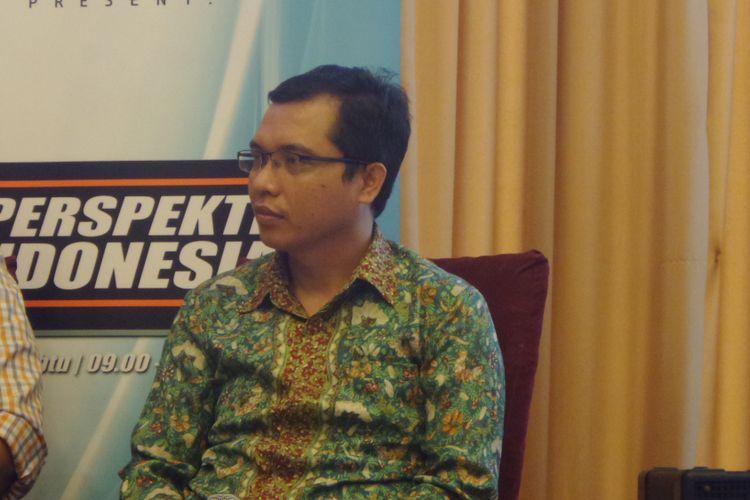 Anggota Pansus RUU Pemilu Achmad Baidowi dalam acara diskusi di bilangan Menteng, Jakarta Pusat, Sabtu (3/6/2017).