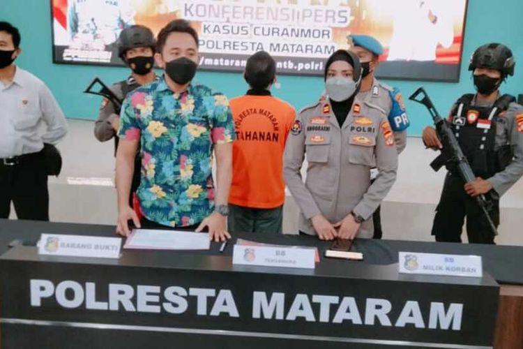 Jumpa pers Polresta Mataram ungkap kasus Pasutri pencuri motor