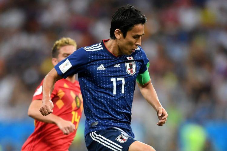Kapten timnas Jepang, Makoto Hasebe saat membela negaranya di Piala Dunia 2018 di Rusia.