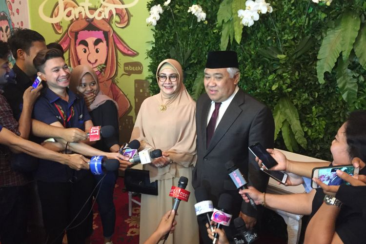Din Syamsuddin menghadiri pernikahan Raditya Dika dan Anissa Aziza di Grand Ballroom Ritz Carlton, Jakarta Selatan, Sabtu (5/5/2018).