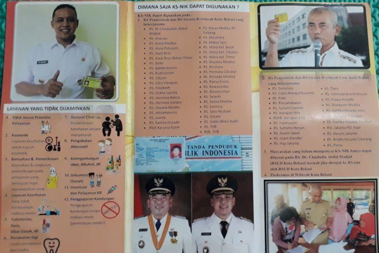 Brosur Kartu Sehat berbasis Nomor Induk Kependudukan (NIK) milik Pemkot Bekasi, Rabu (7/11/2018).