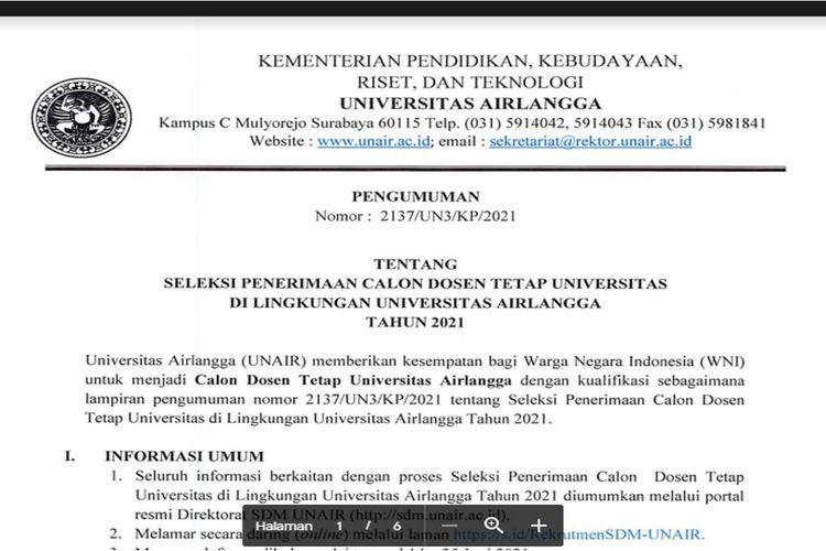 Tangkapan layar seleksi penerimaan dosen tetap Universitas Airlangga (UNAIR)