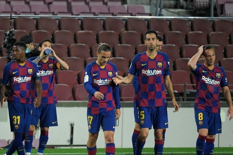Pemain Barcelona pada laga melawan Leganes di Stadion Camp Nou dalam lanjutan pekan ke-29 LaLiga, kasta teratas Liga Spanyol, Selasa 16 Juni 2020.
