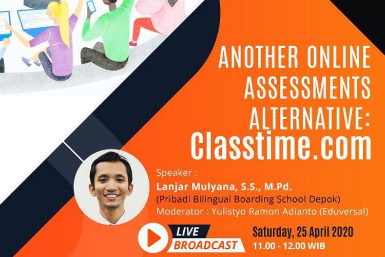 Poster digital webinar gratis untuk guru terkait alternatif assesment yang akan digelar Eduversal (25/4/2020).