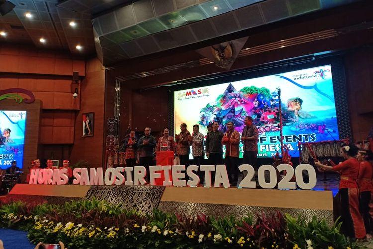 Acara peluncuran Horas Samosir Fiesta 2020 di Balairung Soesilo Soedarman, Kementerian Pariwisata dan Ekonomi Kreatif, Jumat (21/2/2020)