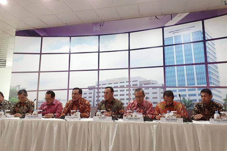 BPK dan Kejaksaan Agung memberikan keterangan resmi soal hasil investigasi tahap awal kasus PT Asuransi Jiwasraya di BPK RI, Rabu (8/1/2020).