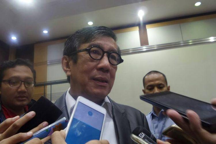 Menteri Hukum dan HAM Yasonna H Laoly di Kompleks Parlemen, Senayan, Jakarta, Senin (29/5/2017).
