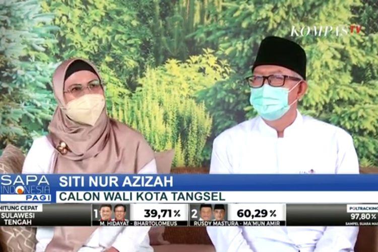 Calon Wali Kota Tangerang Selatan nomor urut satu Siti Nur Azizah - Ruhamaben memberikan pernyataan terkait perolehan suara sementara di Pilkada Tangerang Selatan 2020.