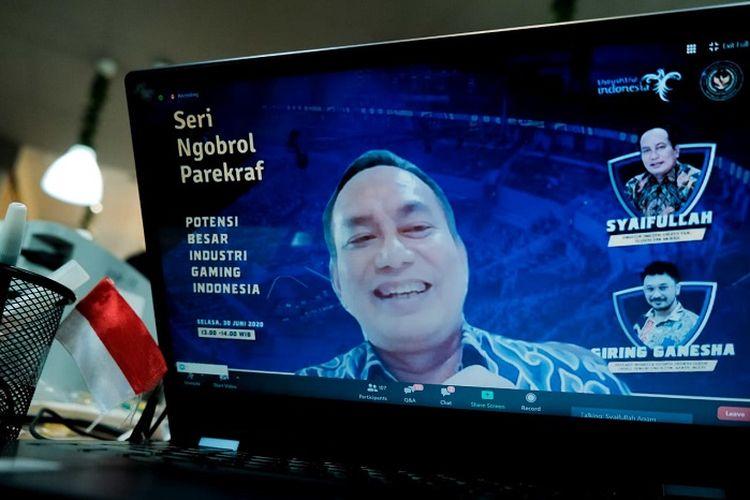 Webinar Seri Ngobrol Parekraf bertema Potensi Besar Industri Gaming di Indonesia, Selasa (30/6/2020).
