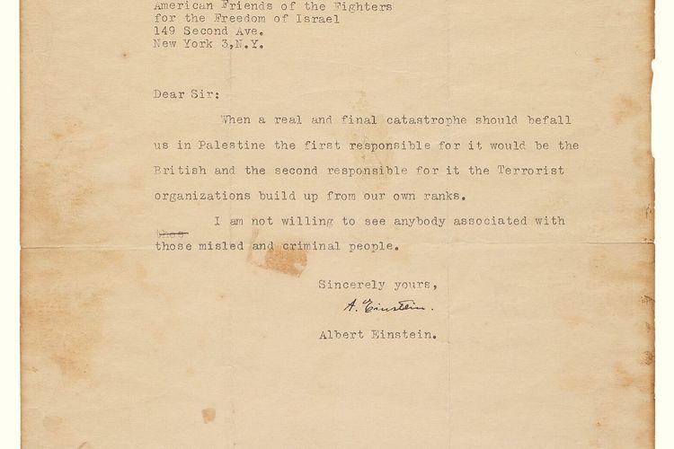Surat Albert Einstein yang berisi prediksi Israel bakal jatuh. Surat yang diketik Einstein ini ditujukan kepada Shepard Rifkin, Direktur Eksekutif American Friends of the Fighters for the Freedom of Israel, yang berbasis di New York.