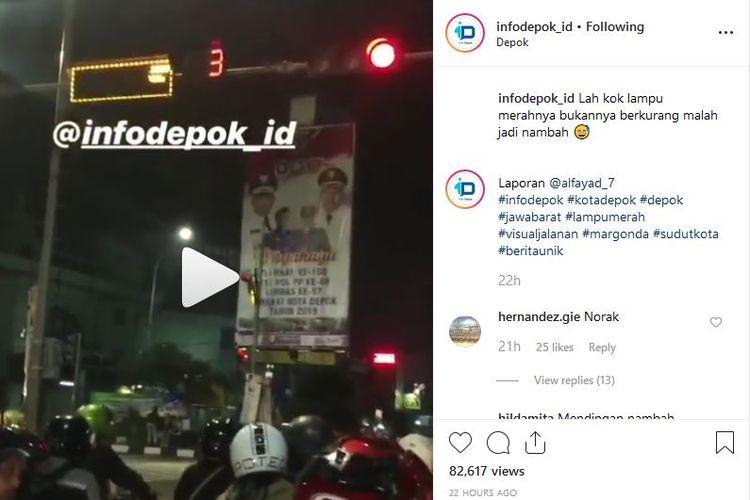 Indikator lampu merah yang bertambah di Depok menjadi perbincangan di media sosial.