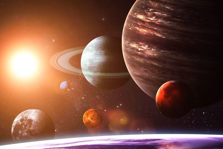 Ilustrasi planet di tata surya