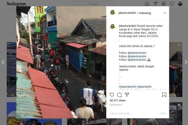 Kapolsek Johar Baru Kompol Supriadi membantah telah terjadi tawuran di Jalan Rawa Tengah, Gang IV, Johar Baru, Jakarta Pusat, pada Kamis (9/7/2020) pagi.