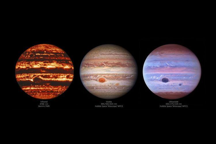 Foto baru planet Jupiter ditangkap teleskop luar angkasa NASA Hubble. Ketiga gambar planet terbesar di Tata Surya ini diambil dalam tiga panjang gelombang berbeda. Dari gambar tersebut terungkap dinamika atmosfer Jupiter.