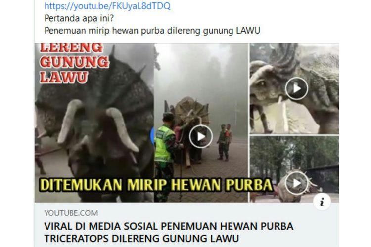 Status Facebook keliru soal hewan purba di Gunung Lawu.