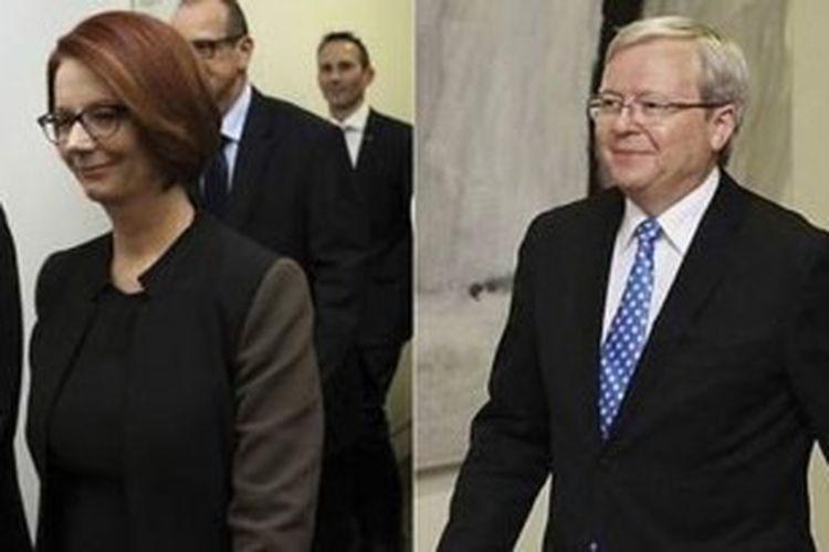 Julia Gillard dikalahkan Kevin Rudd dalam pemilihan ketua Partai Buruh Australia dalam pemilihan yang digelar Rabu (26/6/2013). Akibatnya, Gillard harus merelakan jabatannya sebagai PM Australia direbut Rudd.