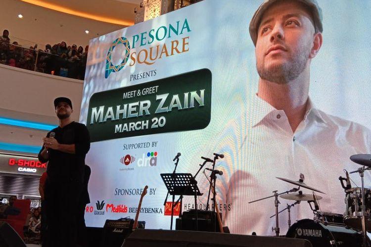 Maher Zain hadir dalam acara meet & greet yang diselenggarakan di Atrium Mall Pesona Square, Depok, Jawa Barat, Rabu (20/3/2019).