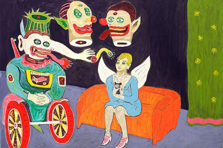 Lukisan karya Heri Dono, An Angel with-Clowns, 2009.