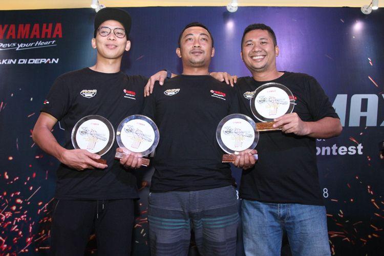 Tiga pemenanga final CustoMaxi Yamaha di Jakarta, Sabtu (24/2/2108)
