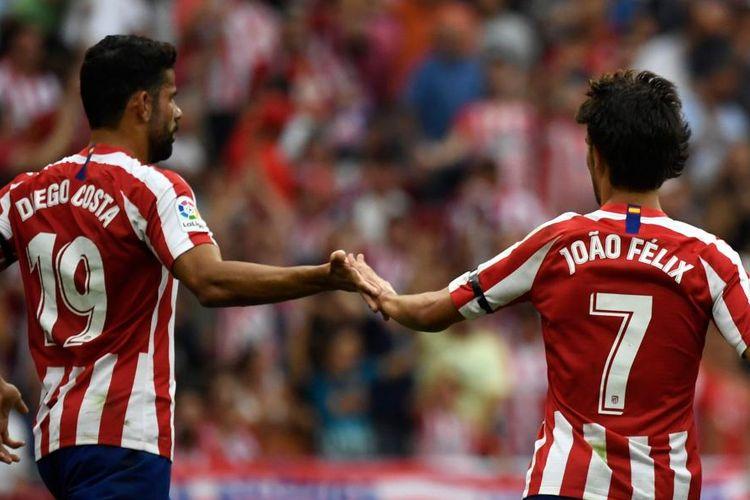 Dua pemain Atletico Madrid, Diego Costa dan Joao Felix saat tampil membela timnya berhadapan dengan Eibar di Stadion Wanda Metropolitano, Minggu (1/9/2019) atau Senin dini hari WIB. Laga berakhir dengan skor 3-2 untuk Atletico.
