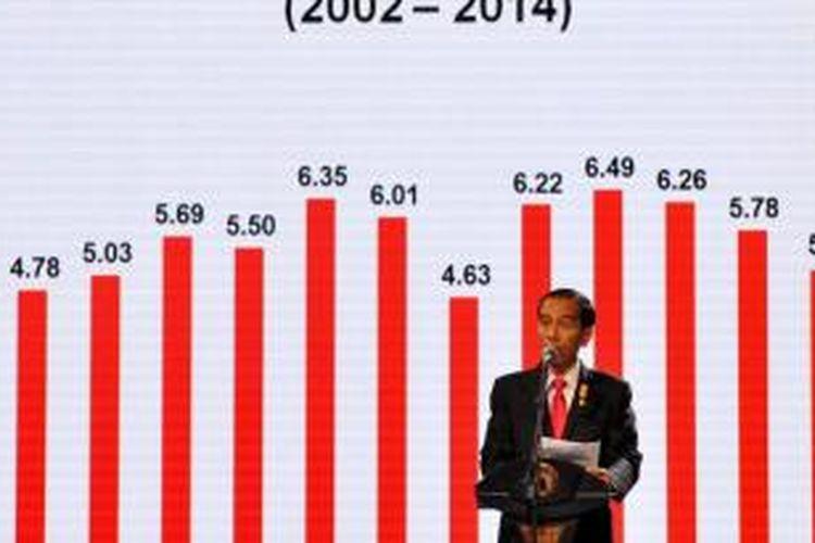 Presiden Joko Widodo memberikan gambaran makro ekonomi Indonesia dalam silaturahmi dengan dunia usaha di Jakarta Convention Center, Kamis (9/7/2015). Dalam acara tersebut, Presiden berdiskusi terkait tantangan ekonomi bersama 400 ekonom yang merupakan bagian dari Ikatan Sarjana Ekonomi Indonesia.