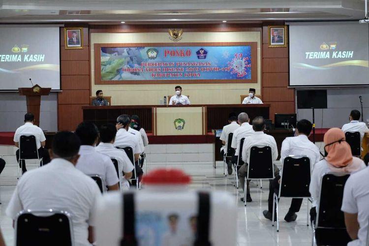 Pemerintah Kabupaten Gowa, Sulawesi Selatan menggelar rapat membahas PSBB Covid-19 setelah resmi disetujui menteri kesehatan. Rabu, (22/4/2020)