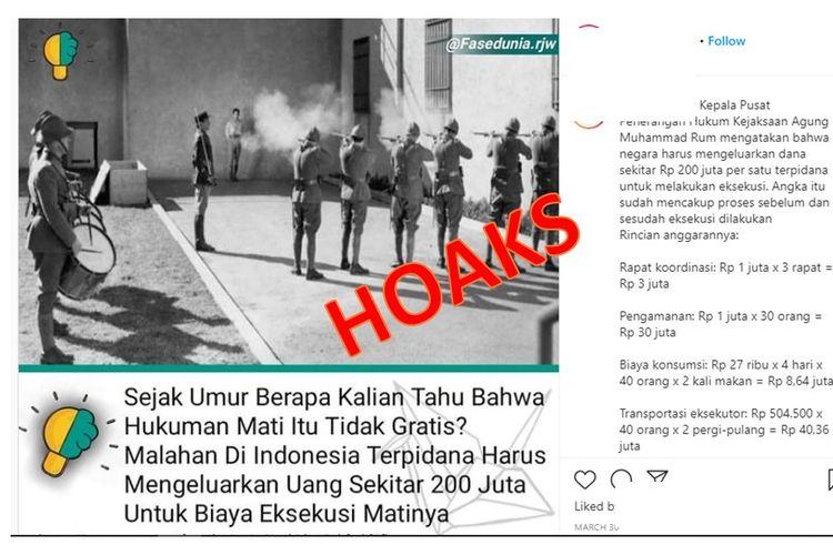 Tangkapan layar unggahan hoaks yang berisi kewajiban terpidana mati membayar Rp 200 juta untuk eksekusinya