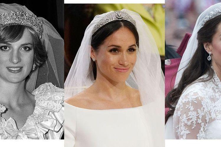 Gaun pengantin Putri Diana, Meghan Markle, dan Kate Middleton.