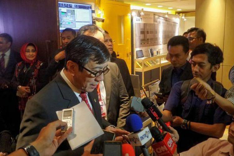 Menteri Hukum dan HAM Yasonna Laoly usai membuka pelaksanaan The 6th Asian Conference Correctional Facilities Architect and Planners (ACCFA) 2017, di Hotel Pullman, Menteng, Jakarta Pusat, Senin (6/3/2017).